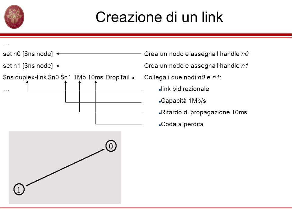 Creazione di un link … set n0 [$ns node] set n1 [$ns node]